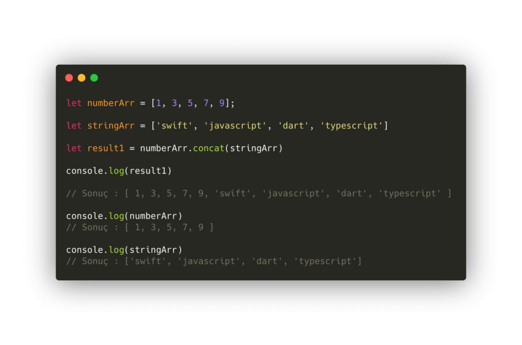 javascript array metodları