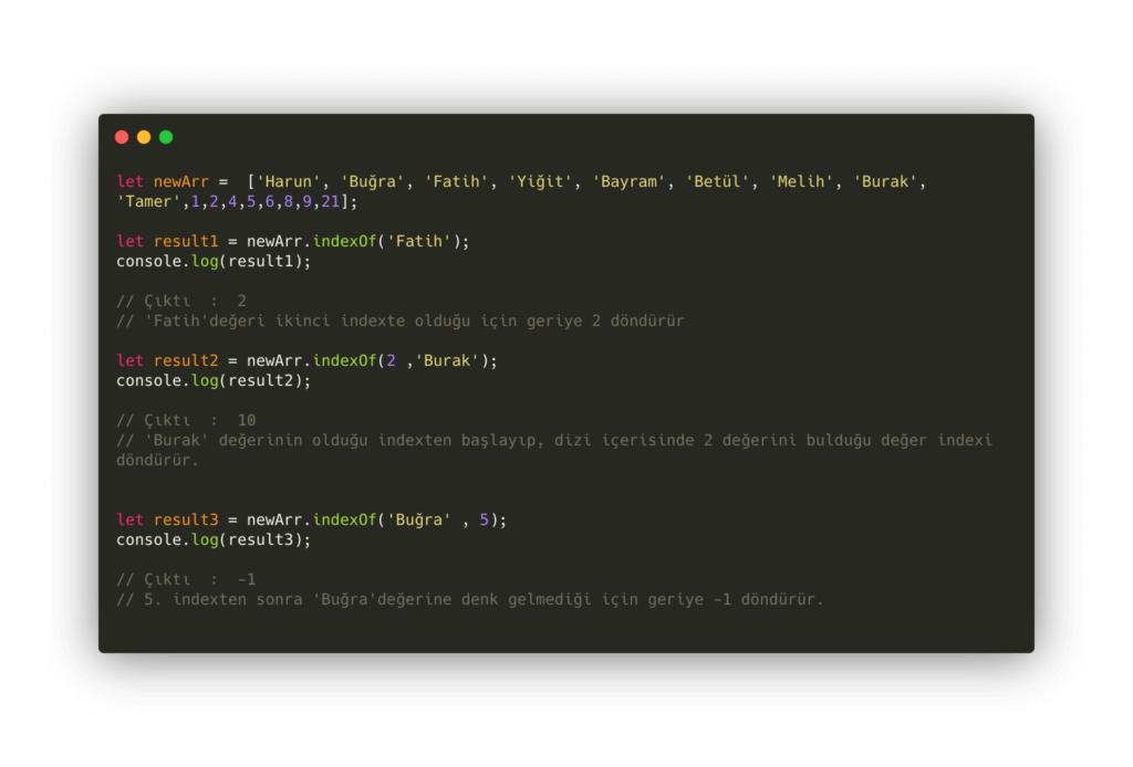 javascript array fonksiyonları